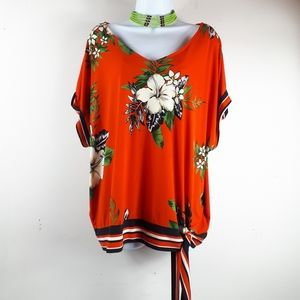 Bold Flower Print Top With Side Front Tie